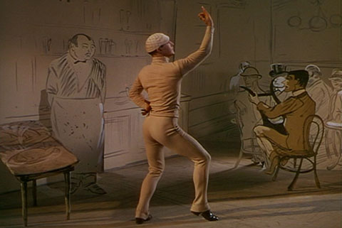 Gene Kelly posed like a figure in a Lautrec sketch, at the beginning of the dance sequence in American in Paris
