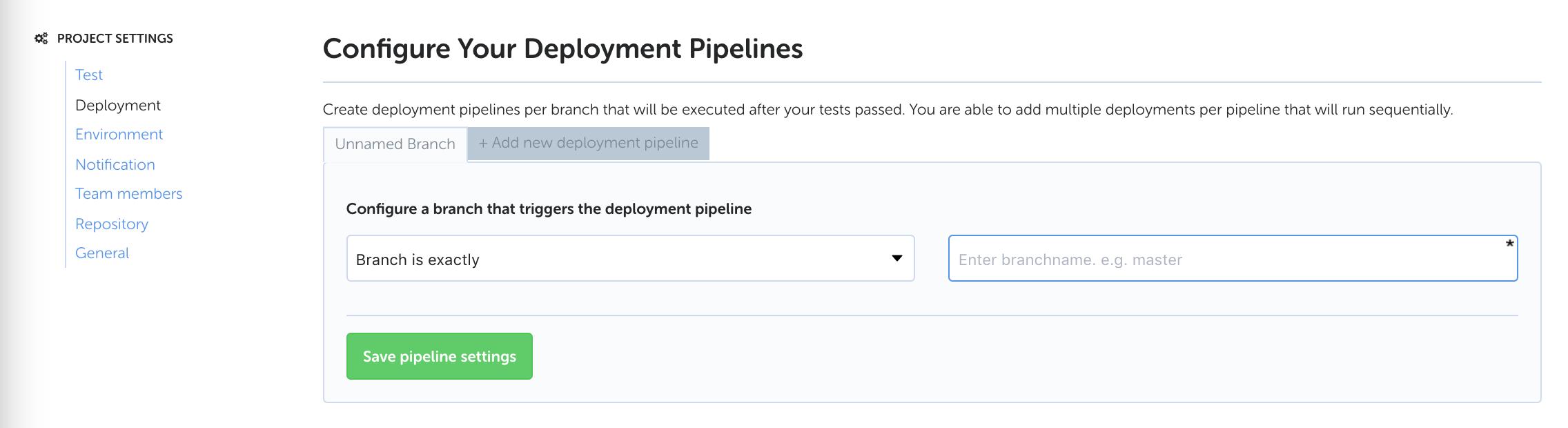 Codeship's project deployment pipeline screen