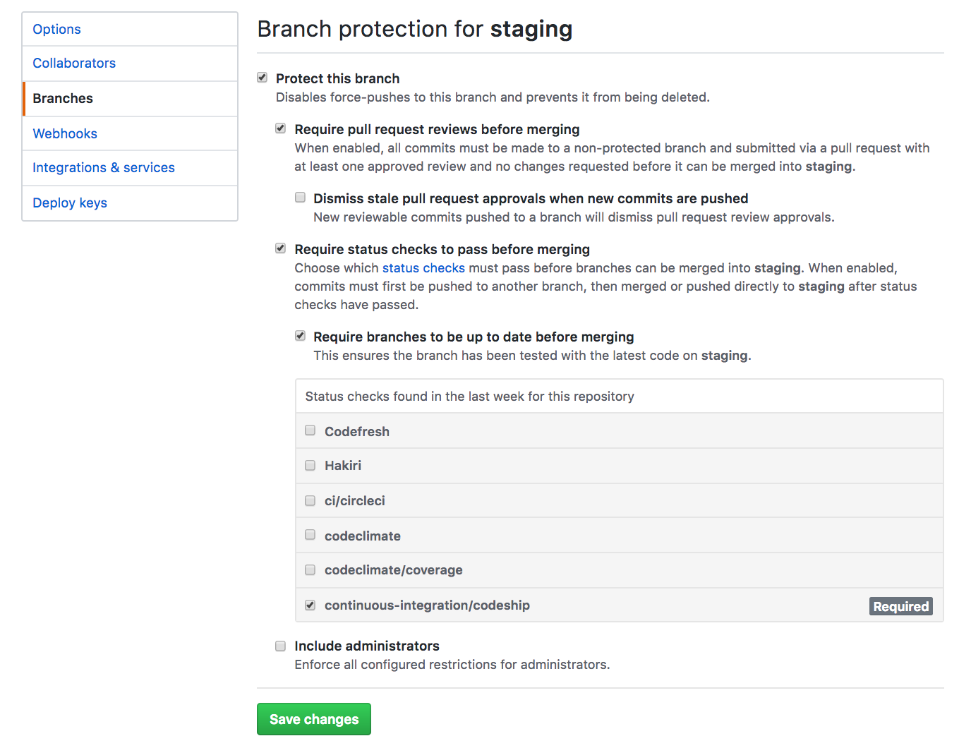 Using Codeship to protect a branch from untested PRs